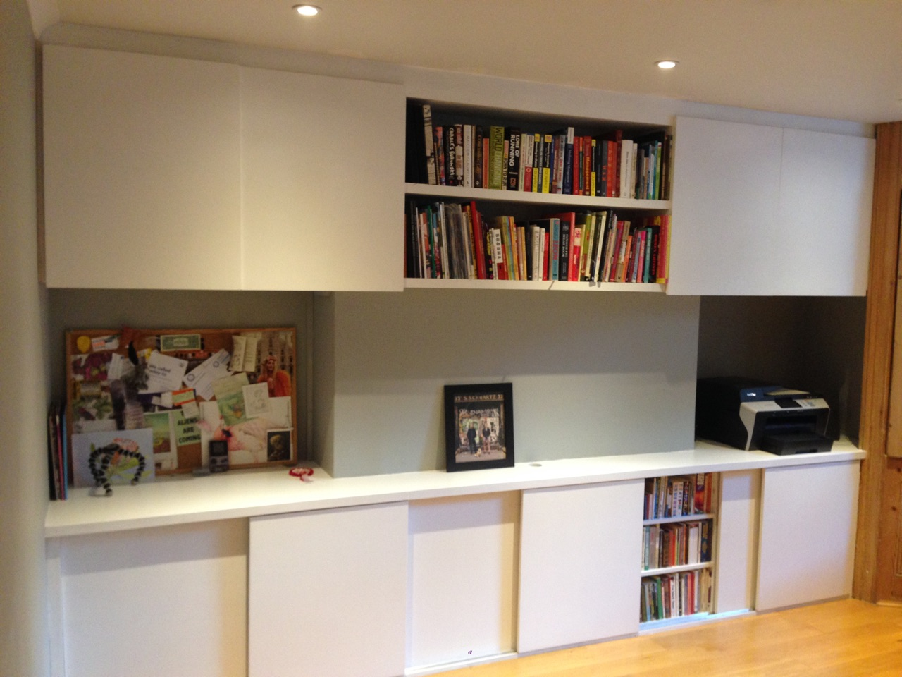 Low storage cupboards with sliding