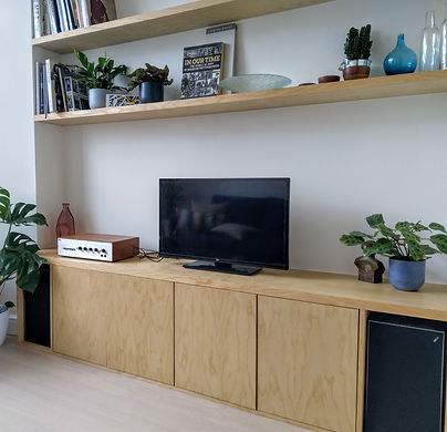 Ash veneer bookshelves and cupboards