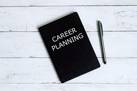 Top view of notebook written with CAREER