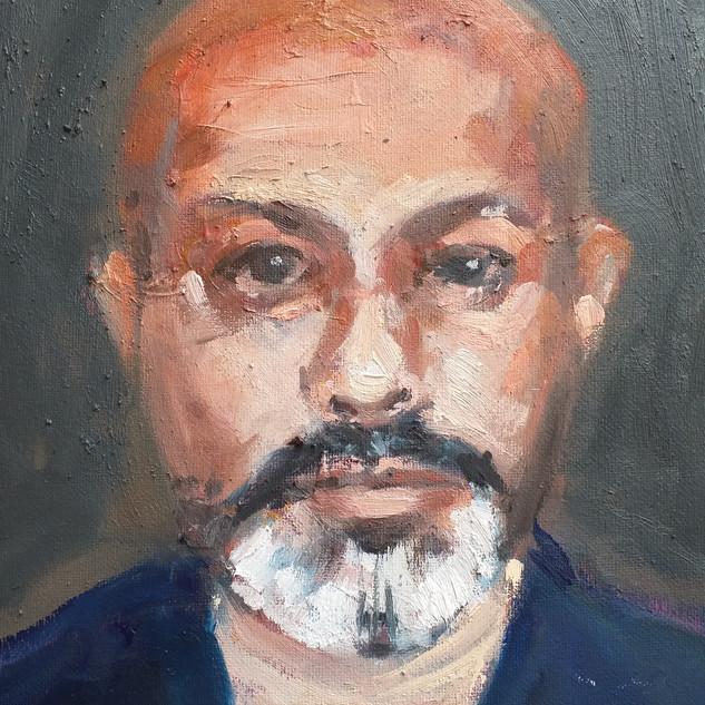 Akram Khan Sky TV portrait - oil