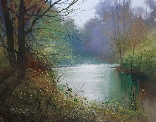 BS-'Spring Light, River Wey'. Watercolou