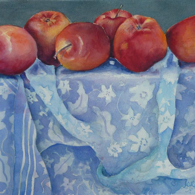 Julie Curry - Red Apples, blue scarf