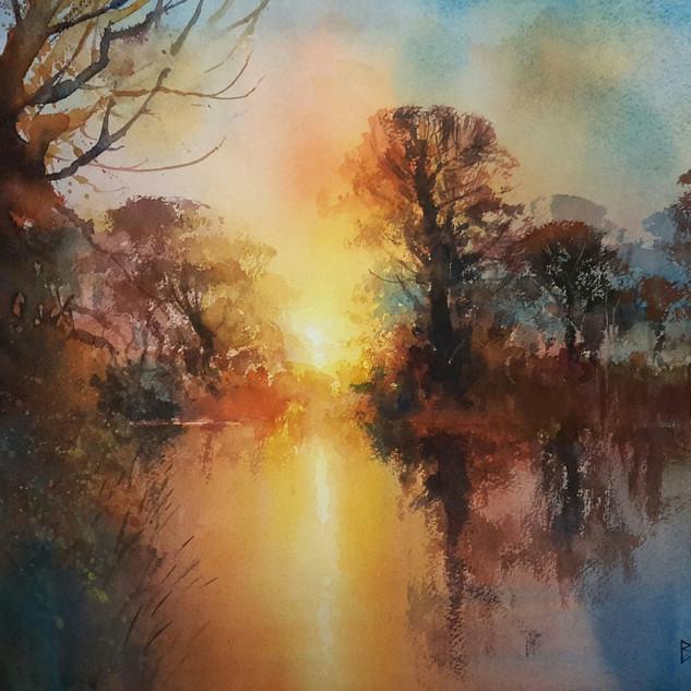 Sunset, River Wey