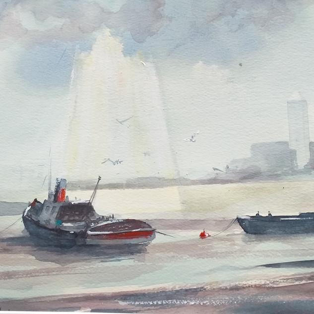 Thames Tug - Watercolour