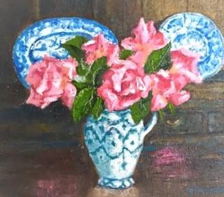Oak dresser and Compassion Rose