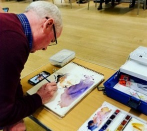 Brendan working with watercolour