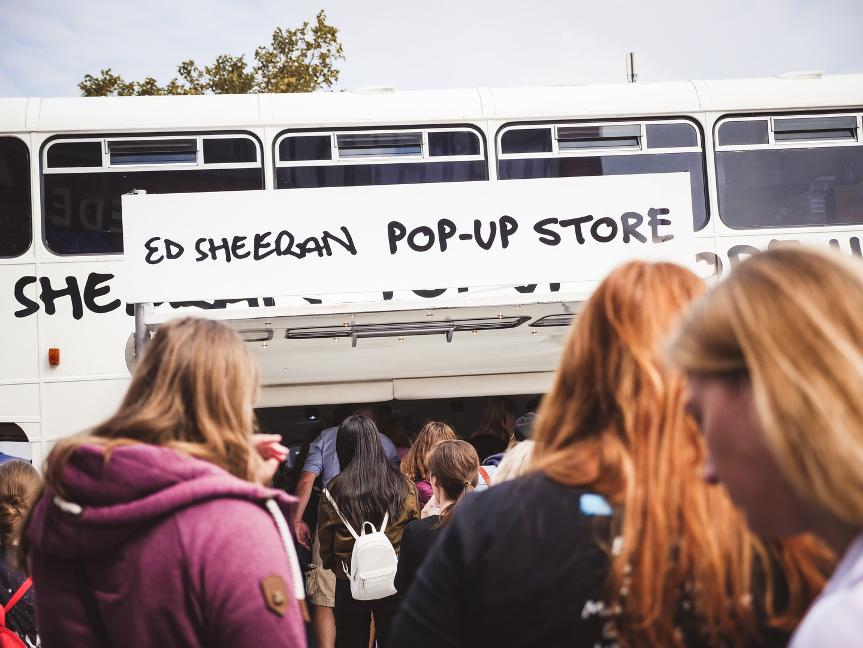 ed sheeran mobile pop up store
