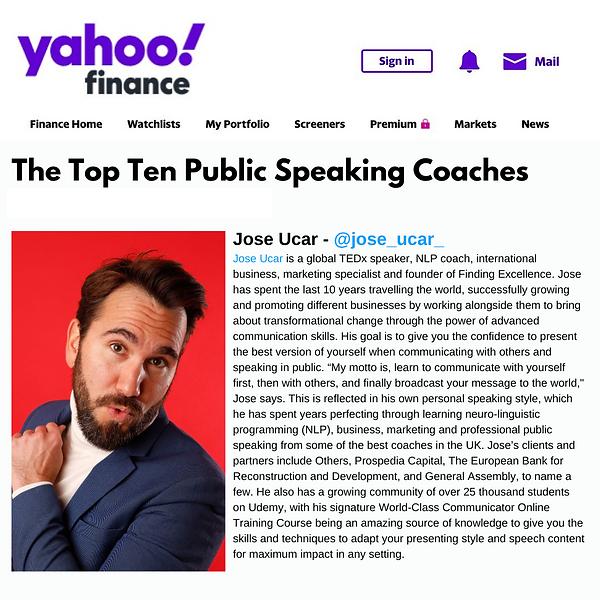 Top 10 Public Speaking Coaches Jose Ucar