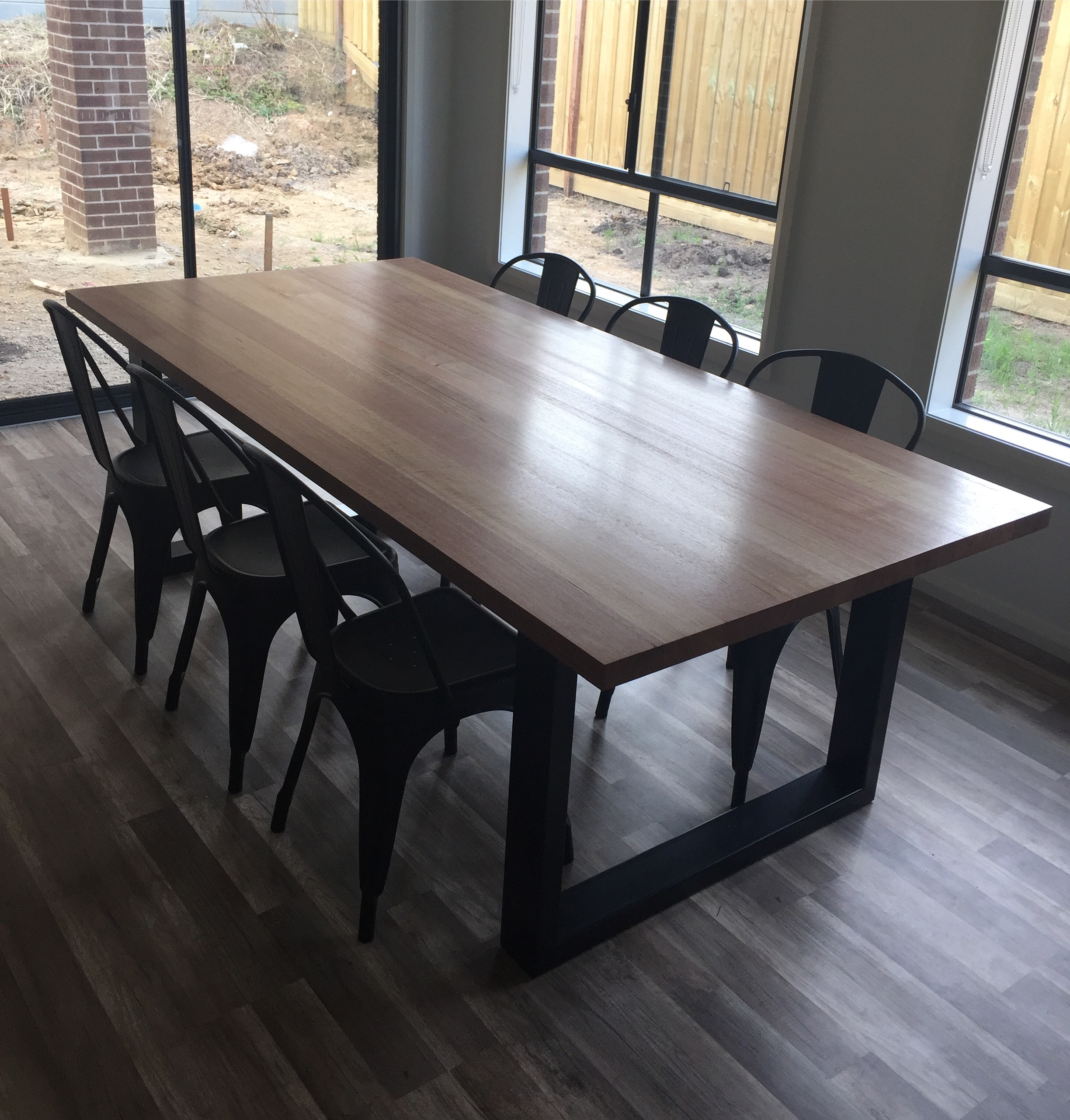 Tasmanian Oak Dining Table with Tolix Replicas.