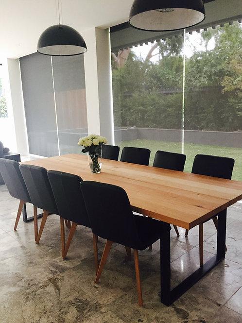 Large Handmade Dining Table Victorian Ash Industrial Steel Loop leg