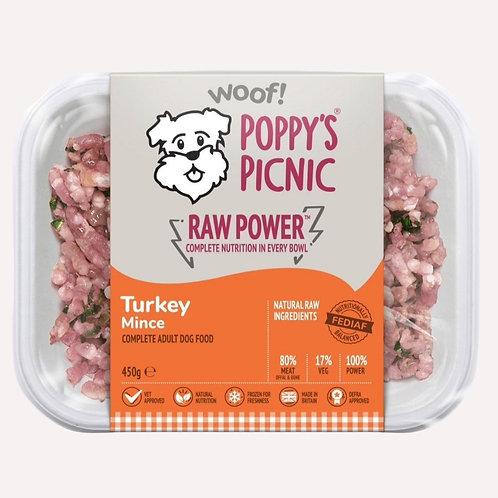 Poppys picnic raw dog food turkey raw power 450g trays