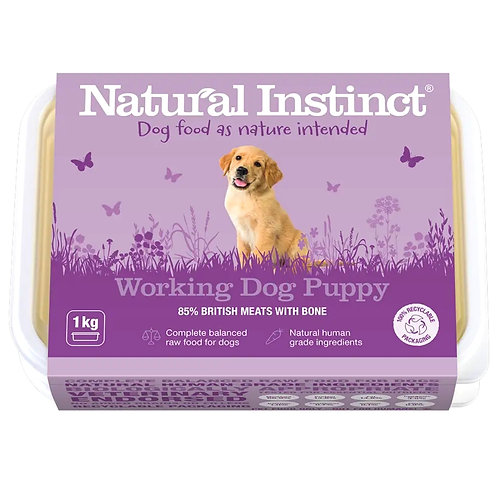 Natural Instinct Working Dog Raw Puppy formula in 1kg tub