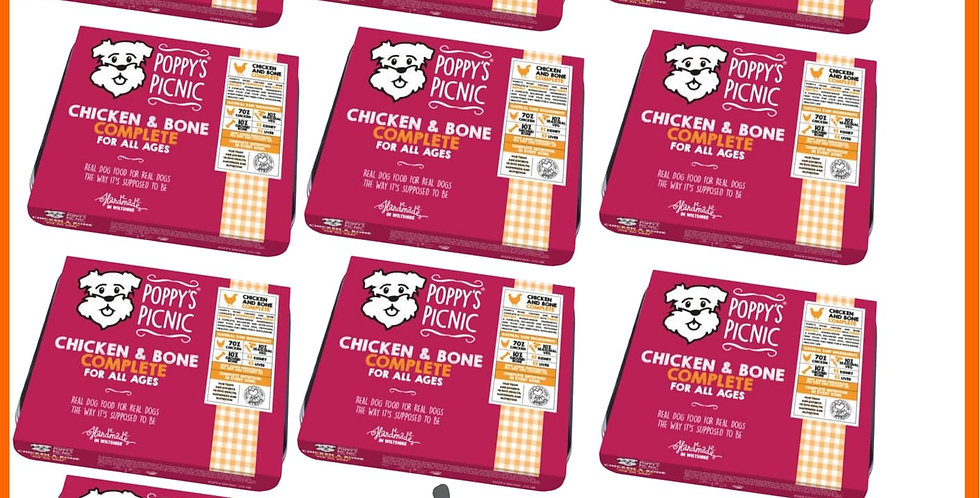 Ten trays of Poppy's Picnic Raw Chicken complete mince for dogs, ideal for small freezer