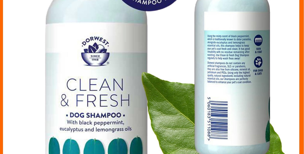 Dorwest natural Clean and Fresh dog shampoo herbal pet soap in bottle