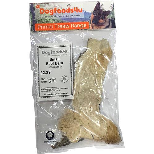 Small Beef Bark dog treat raw dehydrated 100% beef skin in packet dogfoods4u