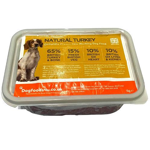 U4IA Turkey raw natural dog food formula in 1kg tub BARF