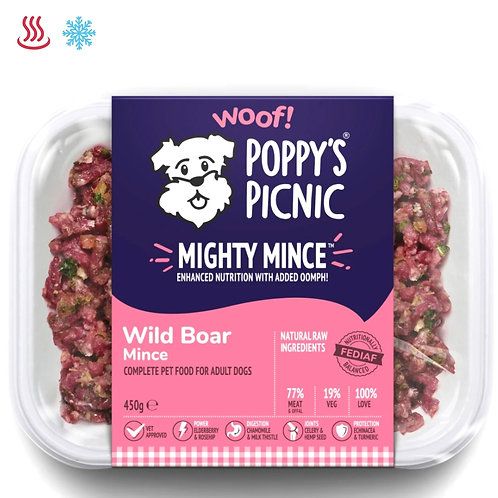 Poppy's picnic wild mighty boar mince for dogs 450g formula meal pet food