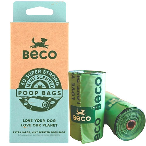 Beco Pets 60 eco dog waste poop bags mint scented
