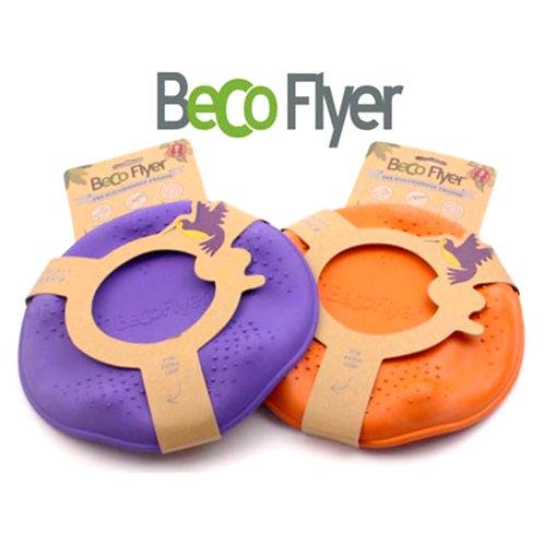 Beco dog toy - orange flying frisbee eco sustainable