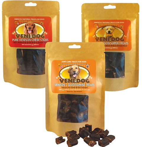 veni-dog duo multipack of raw dog treats made from natural dehydrated venison meat