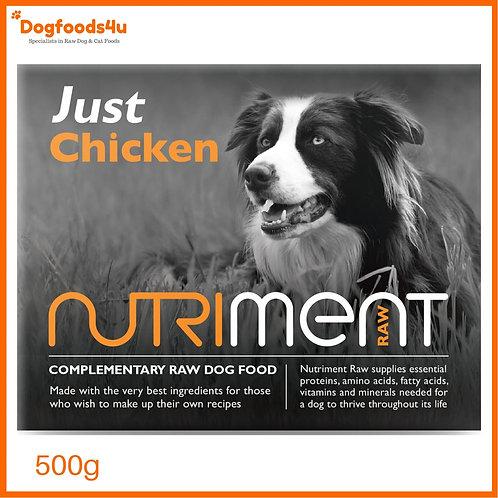 """Nutriment raw dog food """"Just"""" Chicken 500g packaging"""