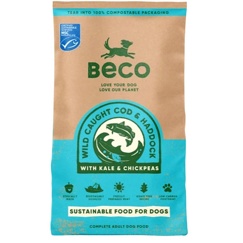 2kg bag of Beco Pets wild cod and haddock dried dog food