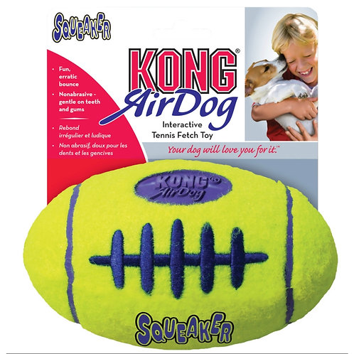 Kong Air squeaker dog toy throwing football tennis