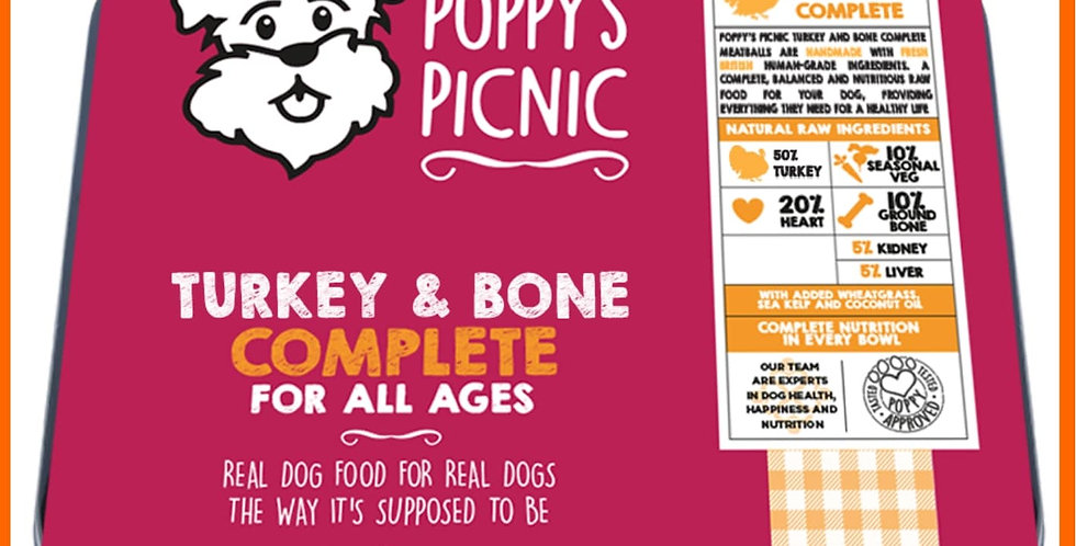 Poppy's Picnic turkey mince and bone complete raw dog food for dogs