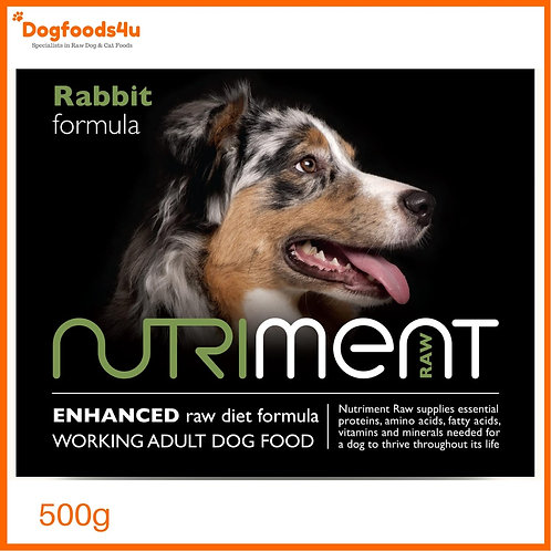 Nutriment Raw rabbit formula for dogs 500g retail packet