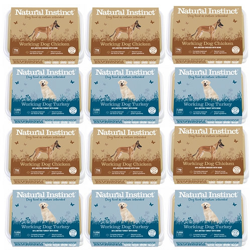 Natural Instinct Raw Working dog food - Chicken and Turkey formula in 12kg multipack