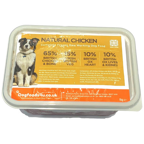 U4IA Raw chicken complete dog food formula in 1kg tub