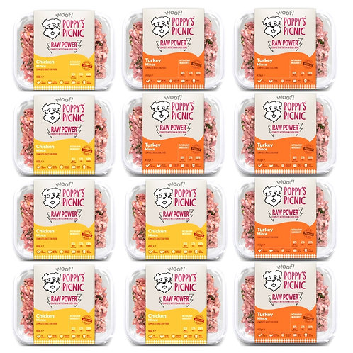 Poppy's Picnic Chicken and Turkey complete raw formula multipack of 12 trays for dogs