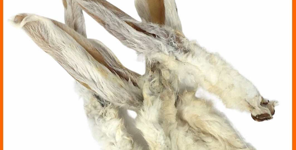Rabbits ears - raw dehydrated dog treat with hair on