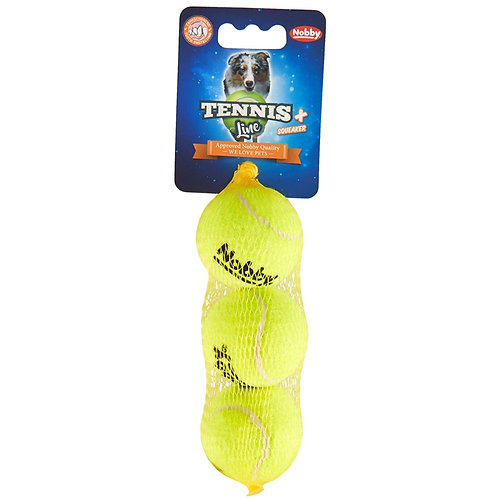 pack of three Nobby dog tennis balls small size pets