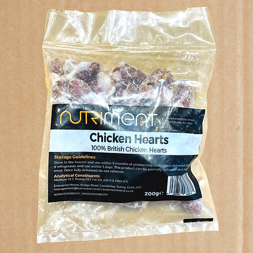 Nutriment raw chicken hearts dog treat in packaging