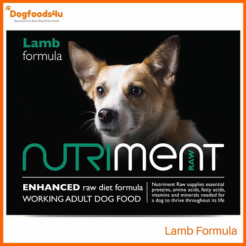 Nutriment raw lamb formula food for dogs in retail 500g tub packaging