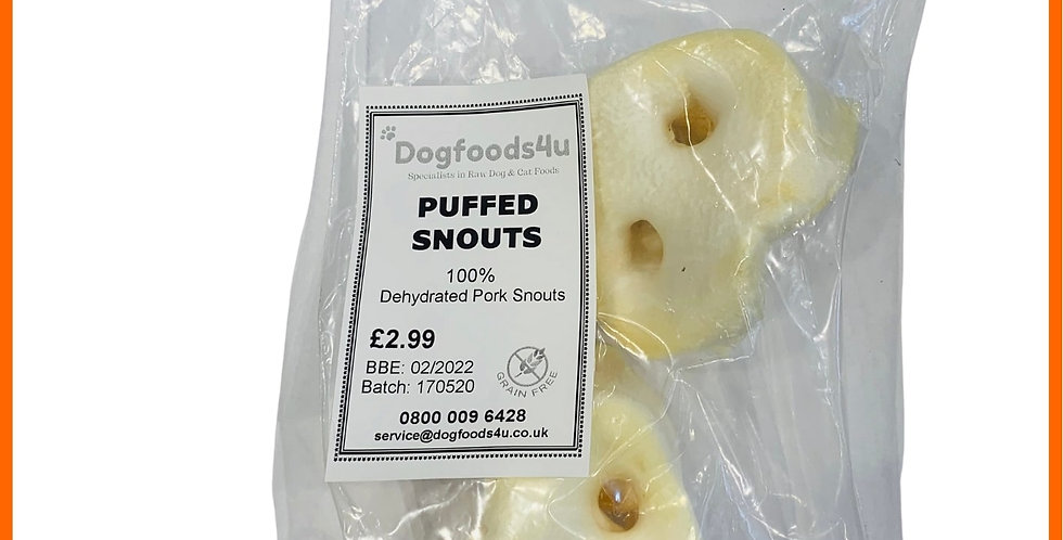 packet of 2 Raw dehydrated pork snouts for dogs