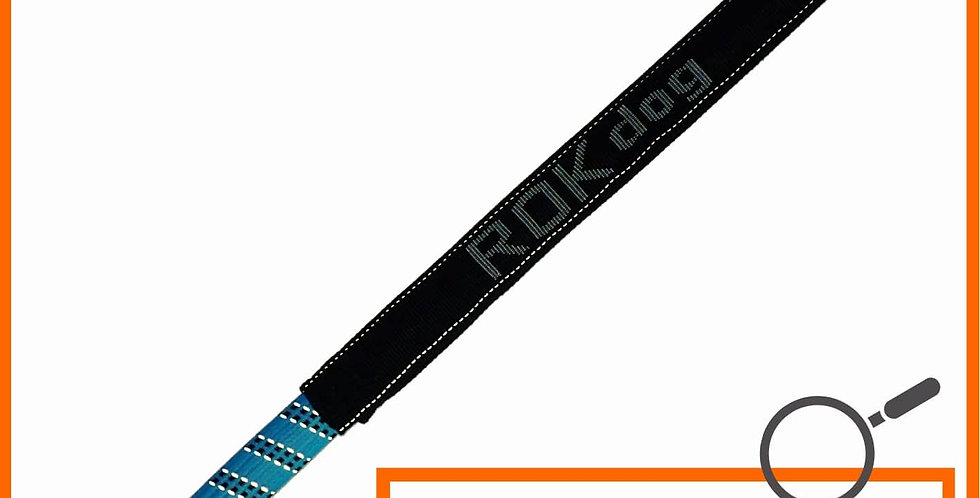ROK dog leash - blue and black with light reflective