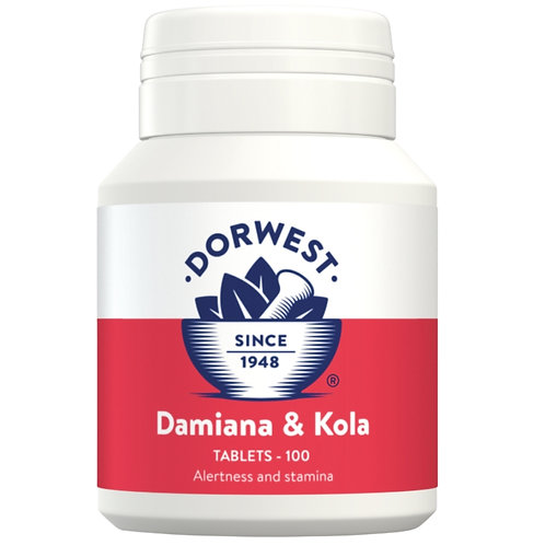 Dorwest Damiana and kola 100 tablets for dogs front view