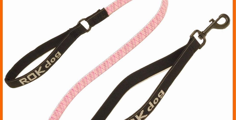 ROK dog leash - pink camo with light reflective