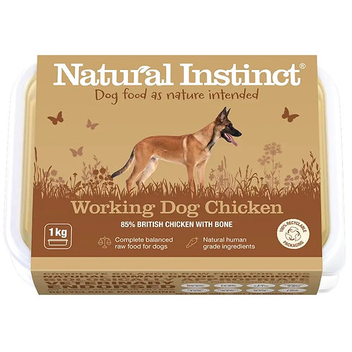 Natural Instinct working Chicken formula in 1kg tub for dogs