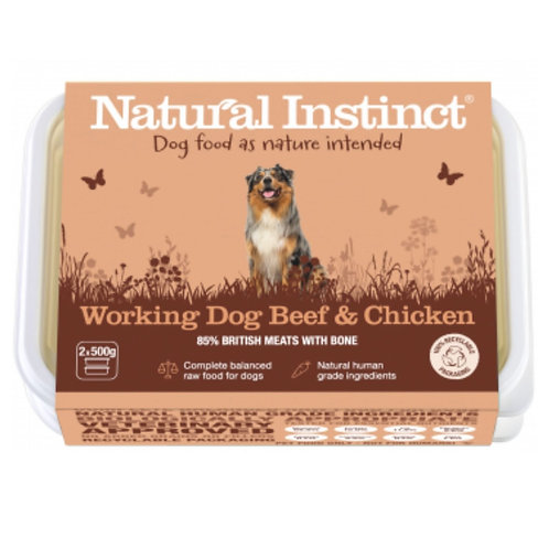 Natural Instinct Raw Dog Food working chicken and beef in 1kg tub