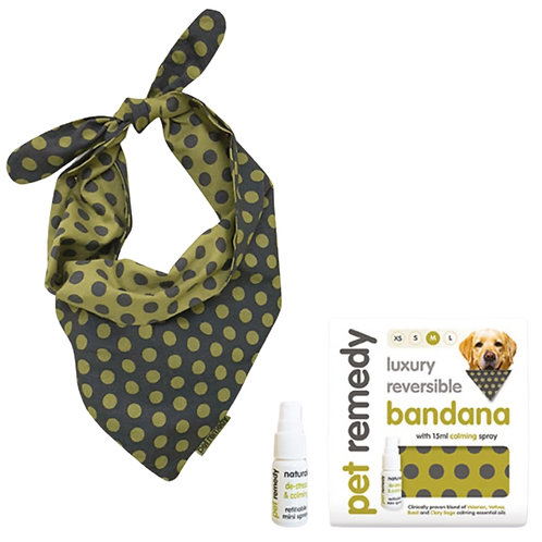 Pet Remedy luxury bandana for digs in 4 sizes, ideal for anxious dogs