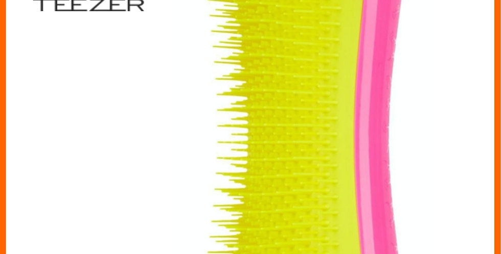 Pet Teezer detangling dog grooming brush in yellow and pink for dogs