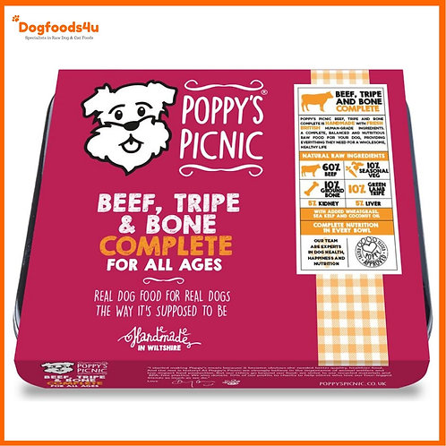 Poppy's Picnic Raw Beef & Tripe Mince 450g tub in retail packaging for dogs