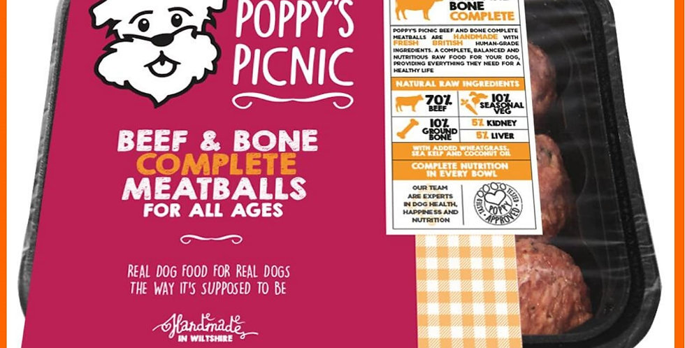Poppy's Picnic raw dog food Beef and Bone meatballs 360g on tray