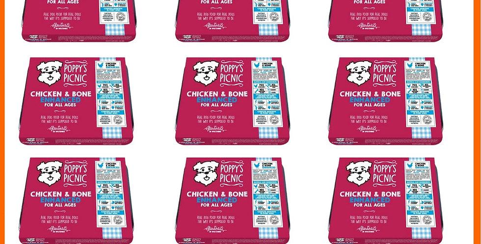 Poppy's Picnic enhanced Chicken Raw BARF dog food formula multipack