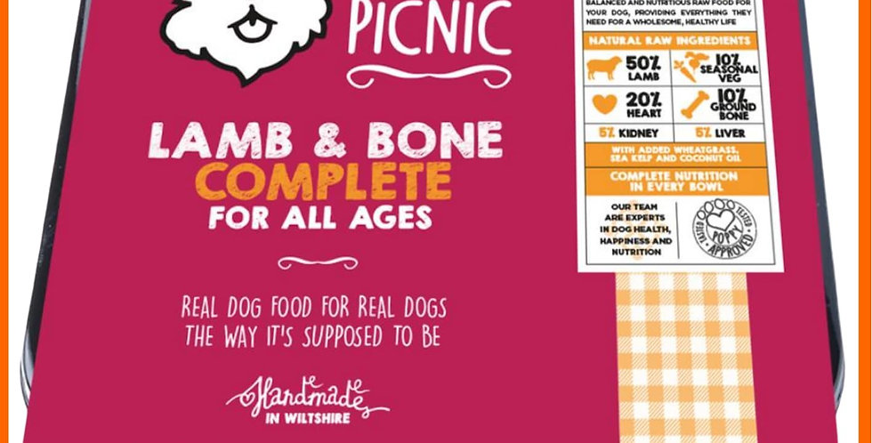 Poppy's picnic 450g BARF Raw Lamb mince for dogs in tray