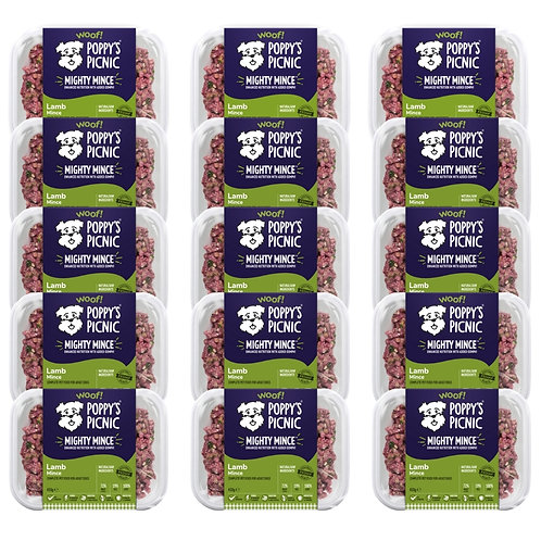 15 x Poppy's Picnic Mighty Lamb Mince for dogs - 450g