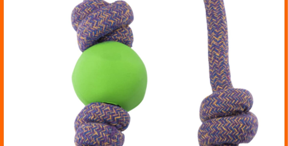 Beco dog toy, Green rubber ball on a cotton rope for pets